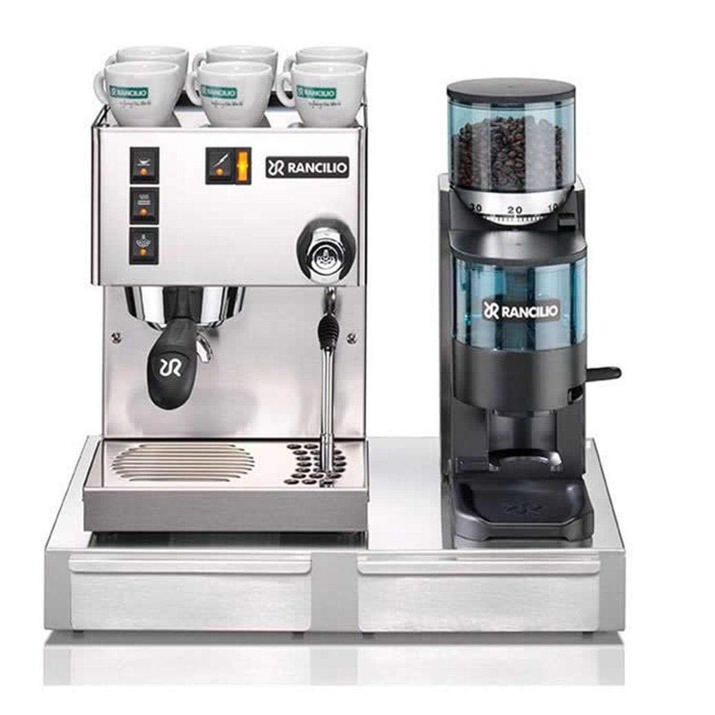 Rancilio Silvia M V5 and Rocky Bar Combo with Base by Rancilio