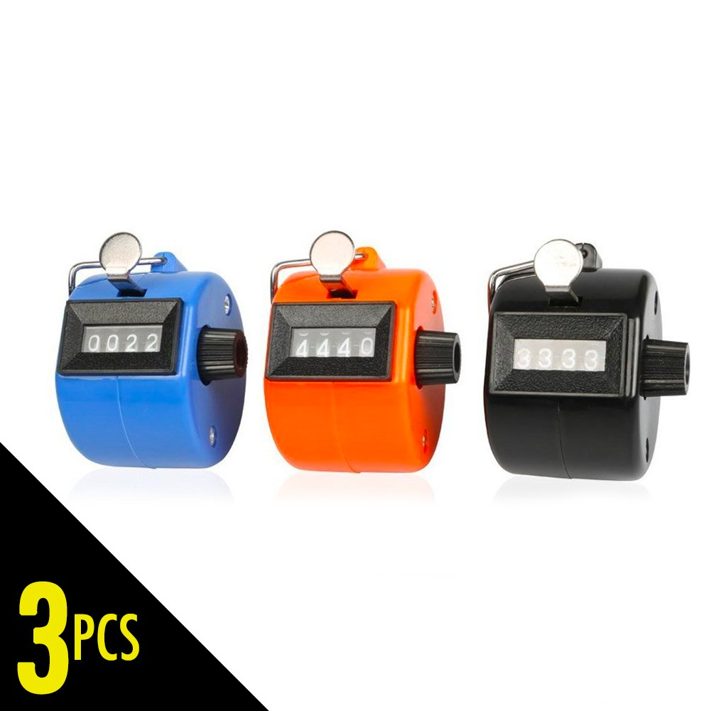 Pack of 3 Handheld Tally Counter, 4 Digit Hand Counter Clicker with Finger Ring, Assorted Color Count Clicker Mechanical Palm Click Counter for Stadium Sport Coach Casino School Event On Tracker