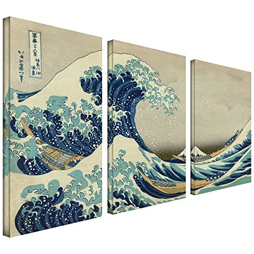 - ArtWall 3-Piece The Great Wave Off Kanagawa by Katsushika Hokusai Gallery Wrapped Canvas Artwork, 24 by 36-Inch