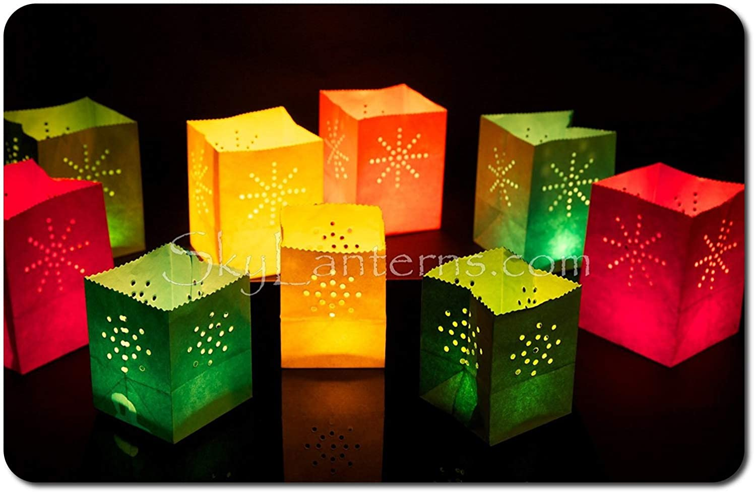 24 Small Coloured Candle Bags Luminary Bags