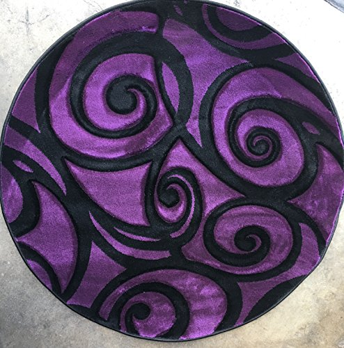 Modern Round Area Rug 400,000 Point Purple & Black Swirl Design 341 Contempo (4 feet X4 feet Round) (Rug Contempo Made Machine)