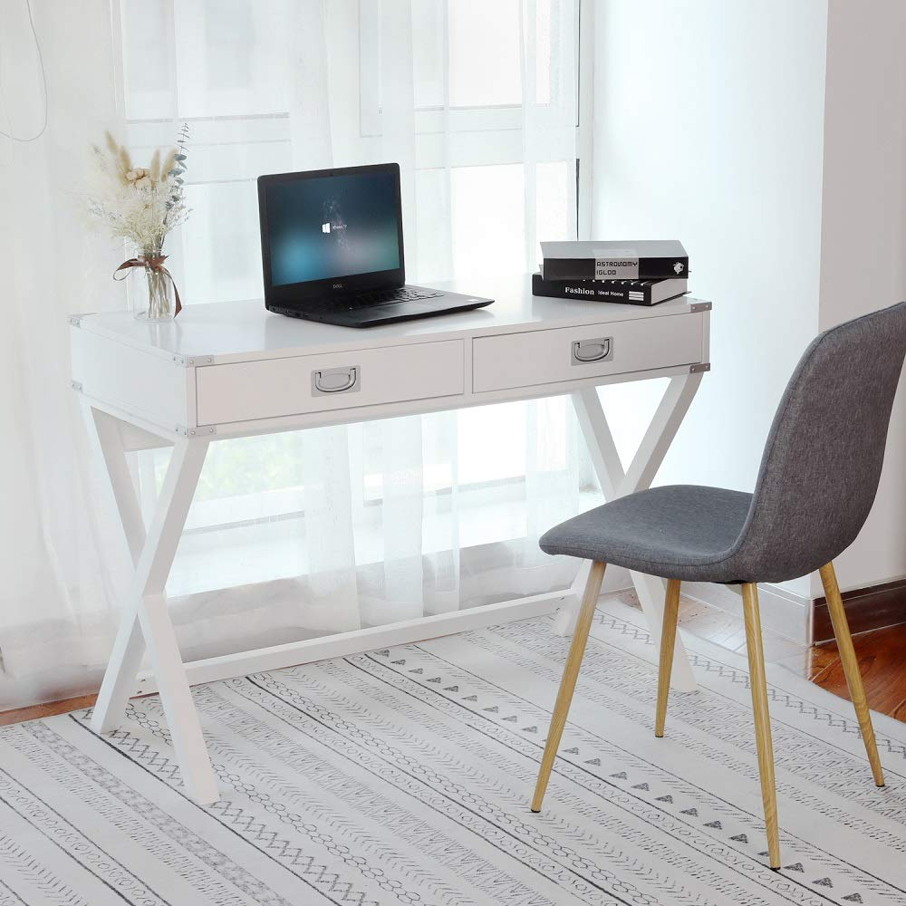 Computer Desk, Multifunctional Table with 2 Drawers, Writing Desk for Home, Office and Study, White by Amooly