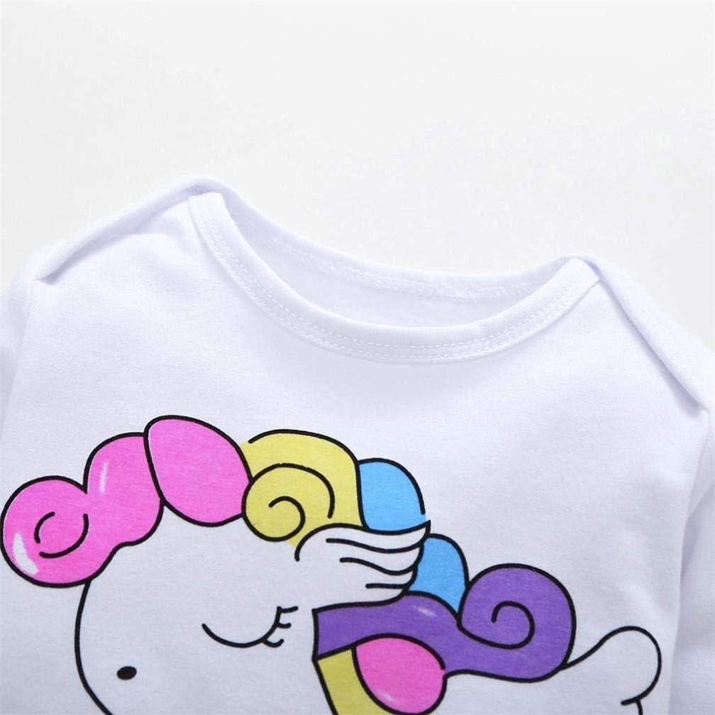 Hut 4 Pcs Baby M/äDchen Kleidung Set Einhorn Dinosaurier Gedruckt Langarm Top Shirt Hose Bogen Stirnband