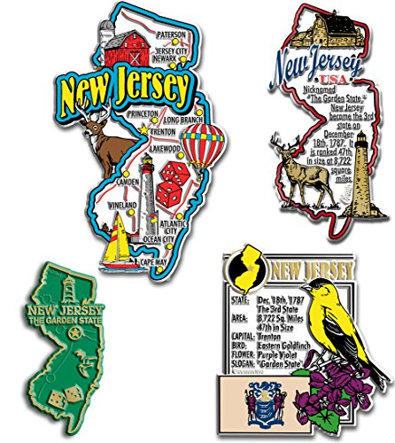 New Jersey Four-Piece State Magnet Set (Refrigerator Magnets New Jersey)