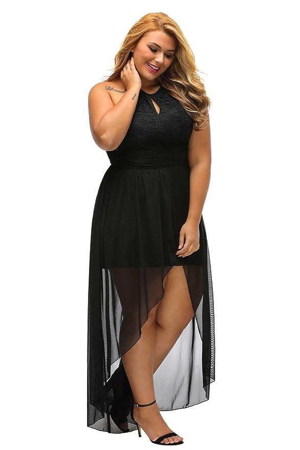Vestidos XXL Tallas Grandes Plus Ropa De Moda Para Mujer Sexys Casuales Largos De Fiesta y Noche Elegantes Negro VE0062 at Amazon Womens Clothing store: