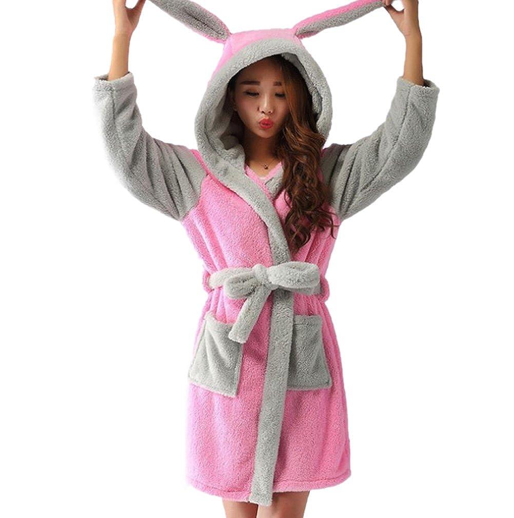 ECHERY Womens Hooded Bathrobes Plush Animal Cartoon Long Robes Nightwear Unisex Cosplay Pajamas at Amazon Womens Clothing store:
