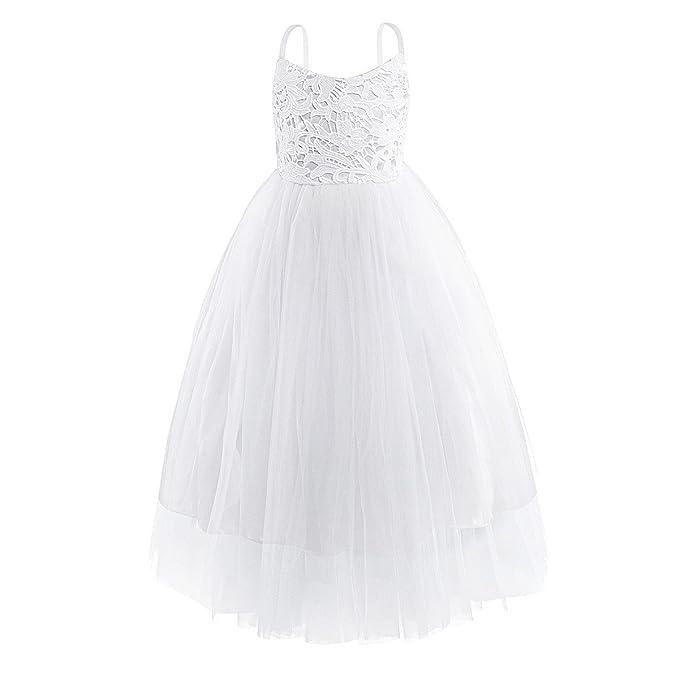 YIZYIF Vestido de Princesa Niña Blanco Correas Espagueti Flor Encaje Vestido Fiesta Cumpleaños Boda Ceremonia Vestidos