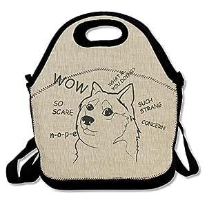 Doge One Color Drawing Waterproof Reusable Neoprene Lunch Box With Adjustable Shoulder Strap For Men Women Adults Kids Toddler Nurses