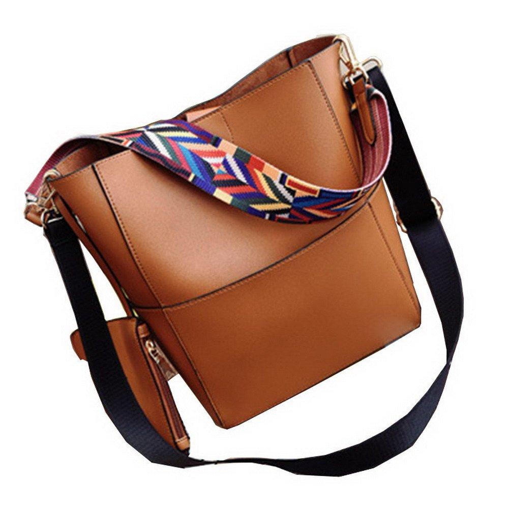 5650c1a1589d JIARUO Designer Bucket Bag Women Leather Wide Strap Shoulder Bag ...