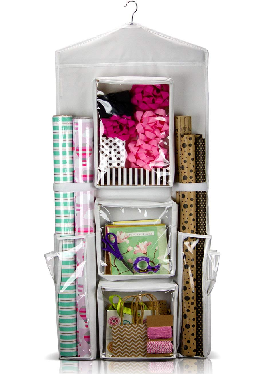 CARRIEBAX Double Sided Wrapping Paper Storage - for 40 Inch Gift Wrap Rolls - Easy Hanging Closet Gift Wrap Organizer with Large Pockets