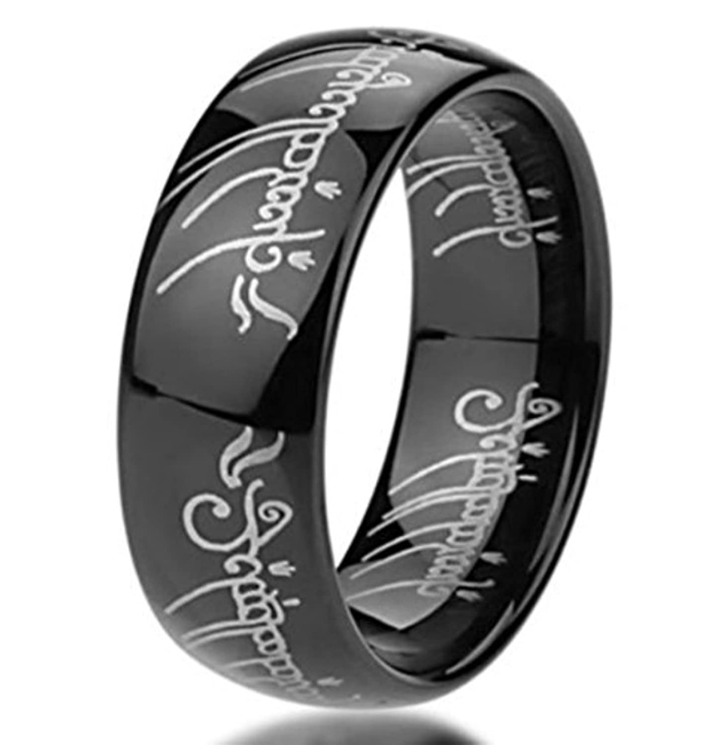 King Will Mens 8mm Tungsten Carbide Ring Black Lord of the Rings