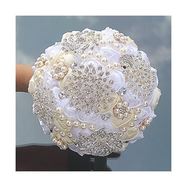 FYSTORE Bride Bouquets – Wedding Bouquet for Bride Rose Diamond Artificial Flowers 18cm (Ivory+White)
