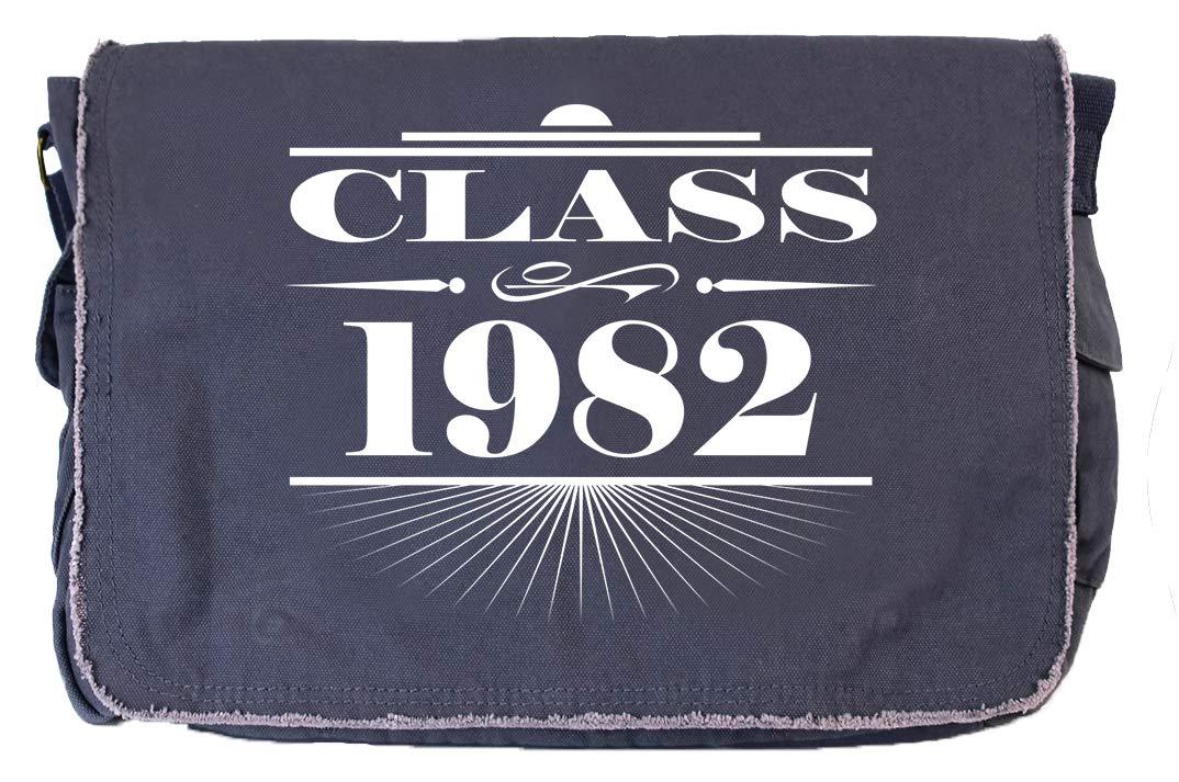Tenacitee Art Deco Class of 1982 Flamingo Raw Edge Canvas Messenger Bag