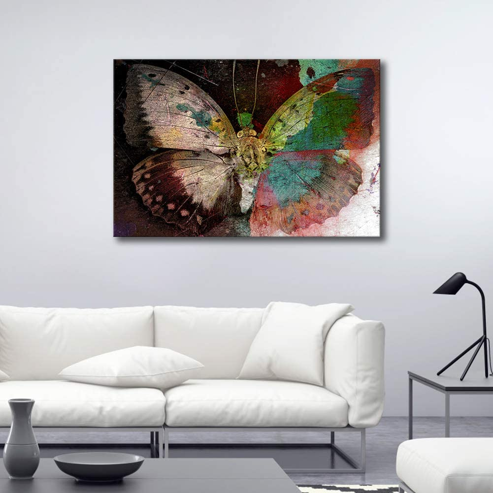 ARTLAND Giclee Canvas Prints Framed Canvas Artwork 24x36-inch 'Colorful Butterfly ' Gallery-Wrapped Animal Painting Wall Art for Living Room
