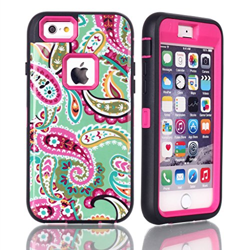 iPhone 5S Case MOUKOU(TM) Unique Paisley Hybrid Impact Case Silicone Cover for iphone5 5S(Y-Hot Pink)
