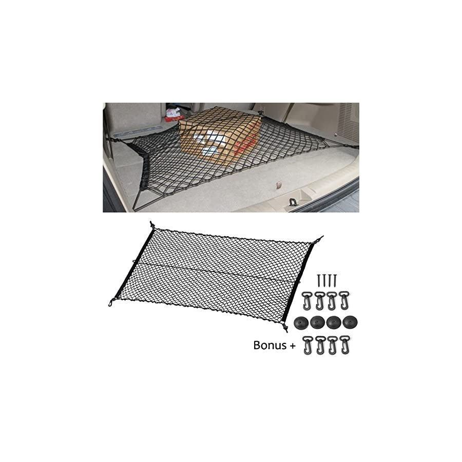 "Black 8 Hooks 47""x27"" Car Trunk Rear Cargo Net Mesh Storage Bag Organizer Elastic Cargo Net Mesh Universal Car Accessories Net."