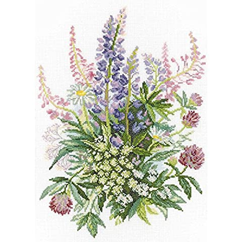 RTO 14 Count Clover and Lupines Counted Cross Stitch Kit, 10.25 by 14.25-Inch - Floral Counted Cross Stitch