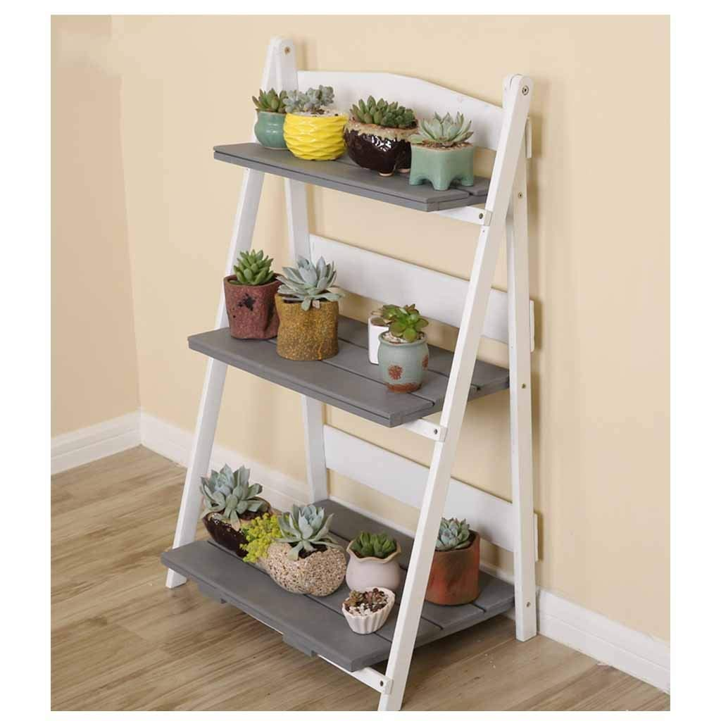 Ladder Shelf Unit Living Room,Wooden Shelving Display Storage Unit Folding Floor Rack Saves Space (Color : Gray) by CDSRB