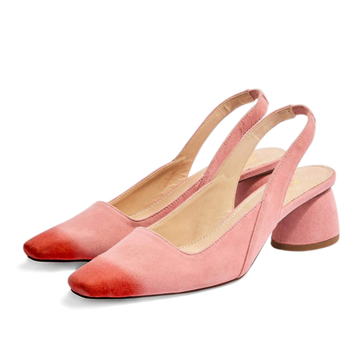 FOWT Slingback Strap Mules Shoes for Women with Square Toe Scarlet Burnished,Mid Rounded Block Heel Sandals with Elastic Band Mature Rose Pink Lady Casual Summer Dress Walking 4-16 M US