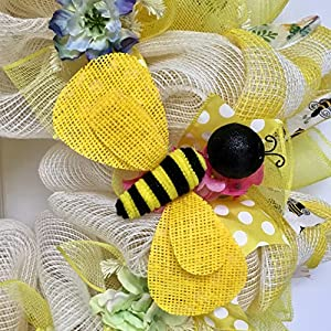 Bumble Bee Floral Spring Summer Deco Mesh Wreath 2