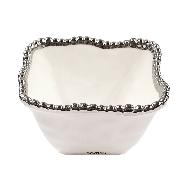 Pampa Bay Porcelain Square Snack Bowl, White