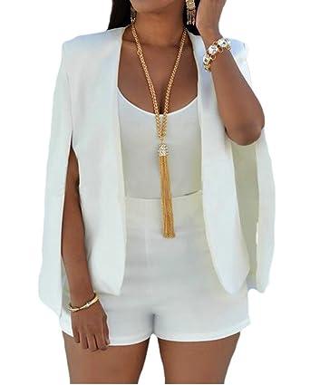 Amazon.com: jwk Mujer Capa de hendidura chaqueta de punto ...