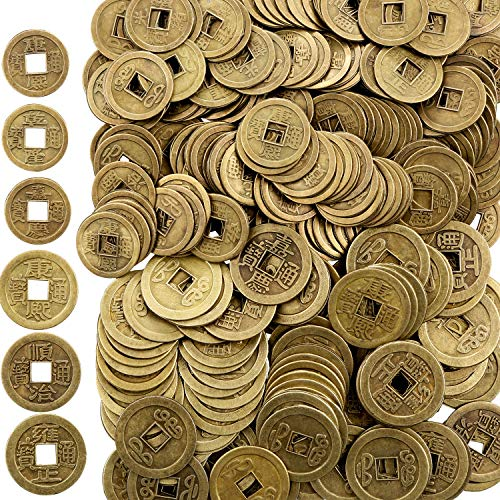Boao 200 Pieces Chinese Feng Shui Coins Good Luck Fortune Coin I-Ching Coins for Health and Wealth (0.8 Inch and 1 -