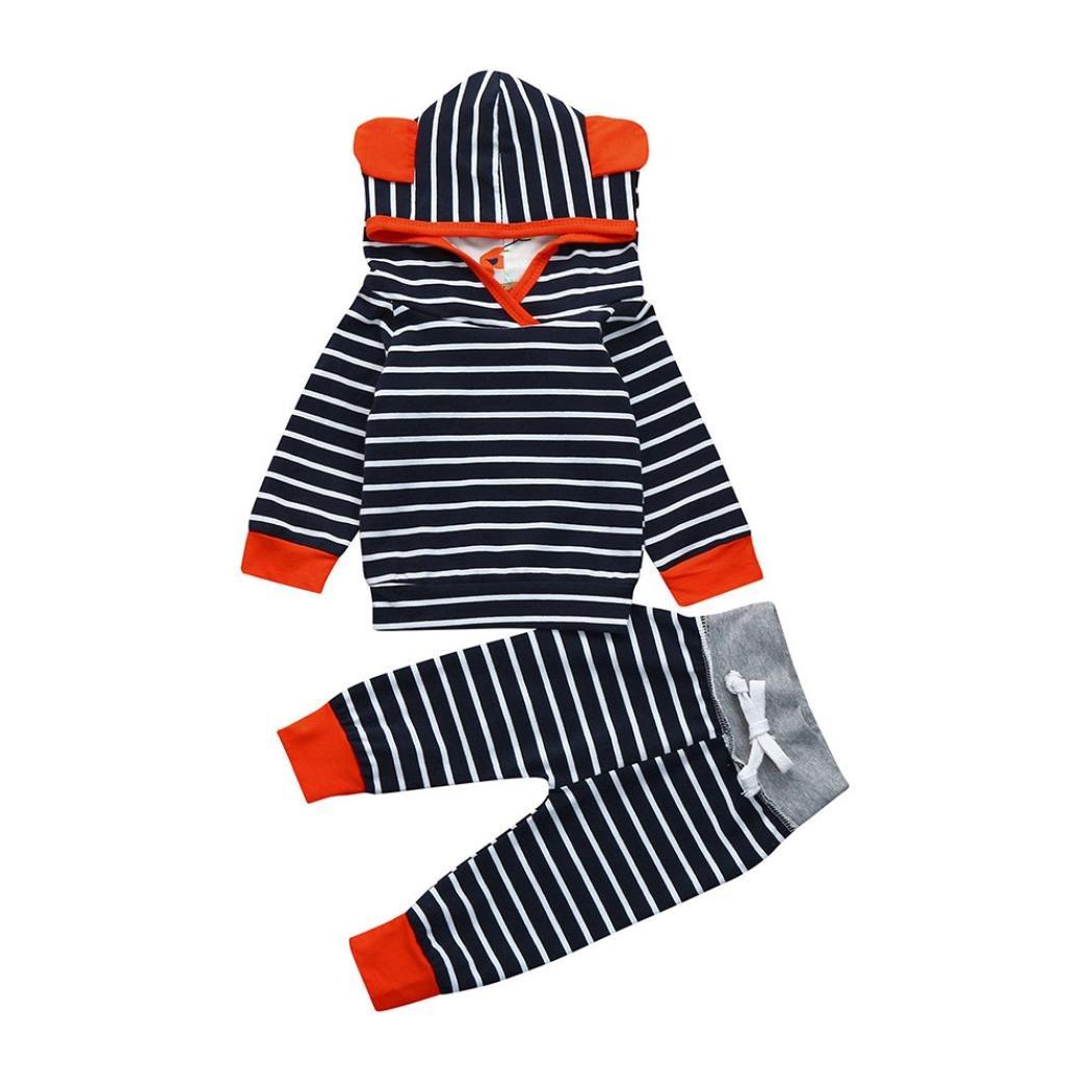 ❤️Ropa Bebe Niño Otoño Invierno Tefamore Recién Nacido Bebé Niño Niña Rayas Camiseta Tops + Pantalones Conjunto de Ropa 6 Mes - 2 Años Tefamore Ropa para niños