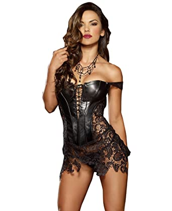 fbc2dedcd Dreamgirl 9367 Women s Faux Leather and Venice Lace Corset - 32 - Black