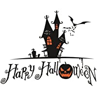 OULII Happy Halloween Spooky Cemetery Castle Pumpkin Bats Sticker PVC Removable Wall Decals Party Decorations