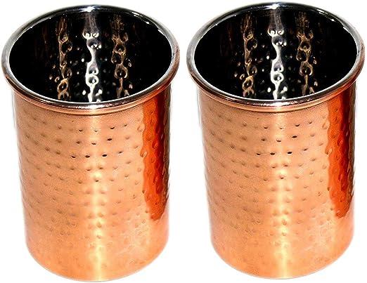 BARREL CRAFTS GALAXY - Juego de 2 vasos de agua de cobre para beneficios de la salud (2 unidades, níquel): Amazon.es: Hogar