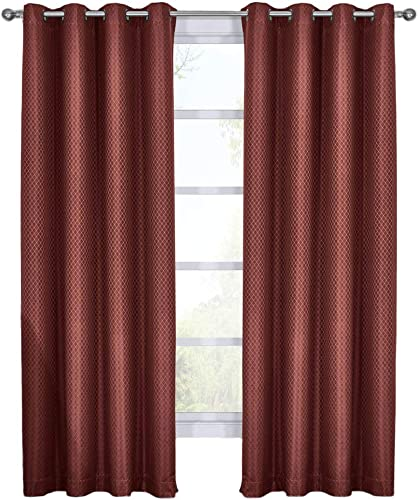 Royal Tradition Diamond 108-Inch Wide x 120-Inch Long, Set of 2 Jacquard Thermal Insulated Blackout Curtains, Brick