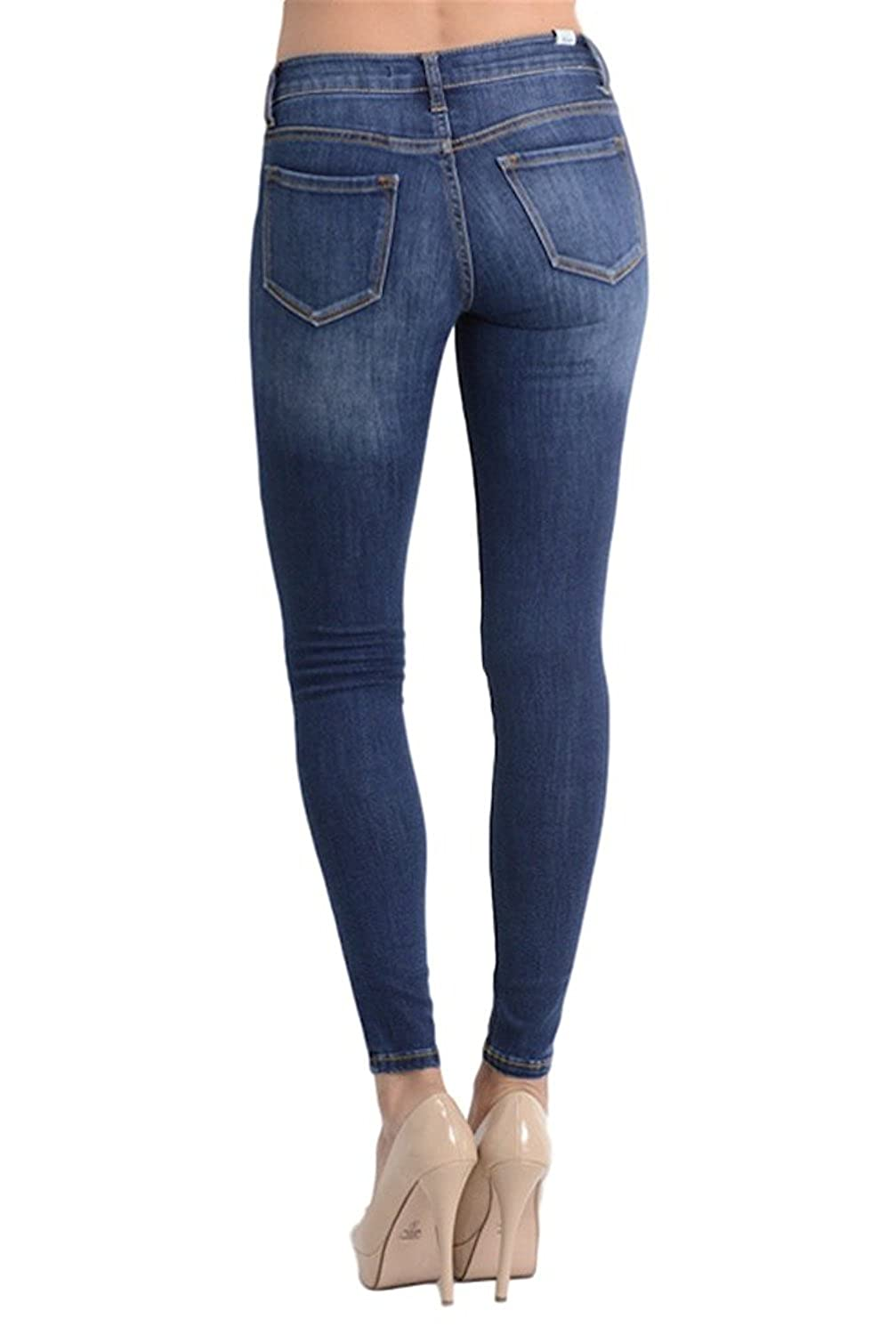 Kan Can Womens Mid Rise Super Skinny Jeans - Basic - KC7092