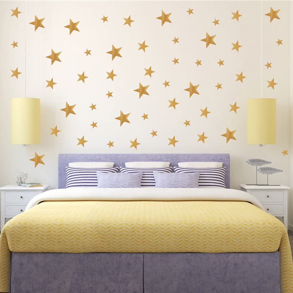 YOKIND 117Pcs Gold Stars Wall Decal Stars Pattern DIY Wall Stickers for Kids Rooms Home Decor