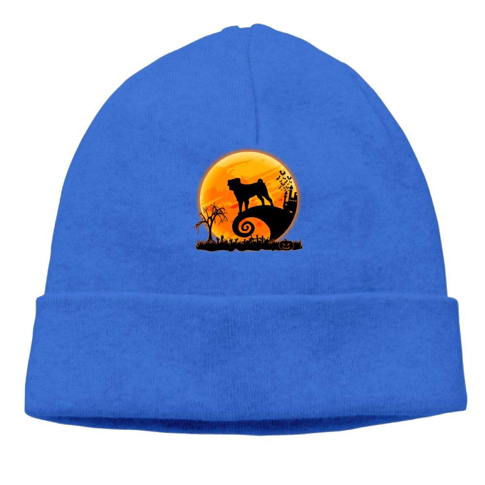 Oopp Jfhg Pug and Moon Halloween Beanie Knit Hat Skull Caps Mens RoyalBlue