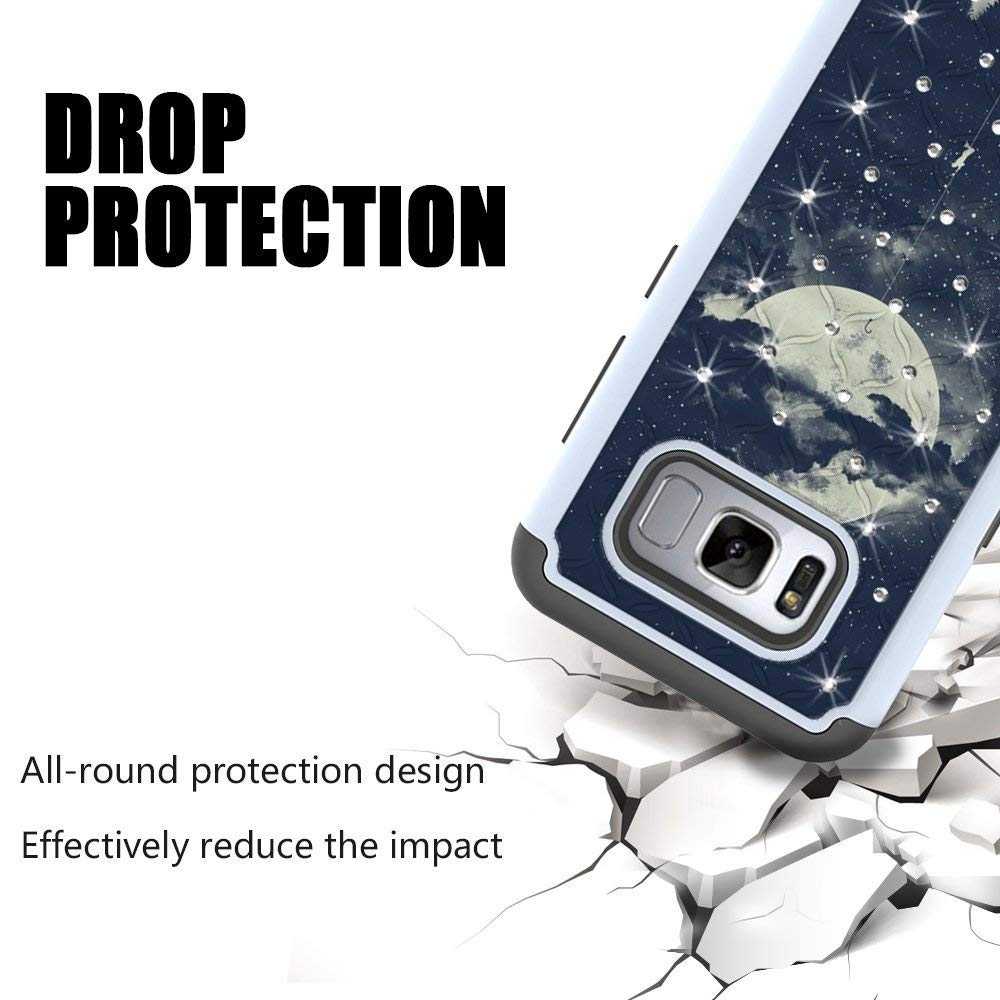 S8 Case, MagicSky [Shock Absorption] Studded Rhinestone Bling Hybrid Dual Layer Armor Defender Protective Case Cover For Samsung Galaxy S8 (Night Sky)