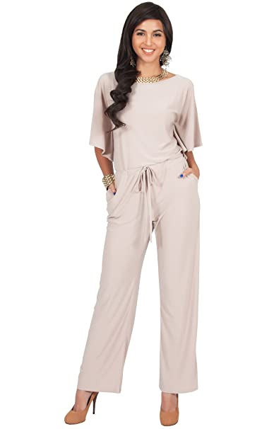 af6028ad43c1 Koh Koh Petite Womens Short Sleeve Long Pants One Shoulder Cocktail Casual  One Piece Pockets Jumpsuit