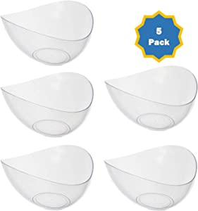 Plastic Serving Bowls| Disposable, Small Clear Angled Candy Bowls For Parties, Buffet, Chips, Candy, Fruits. 5 Pack - Posh Setting 10oz