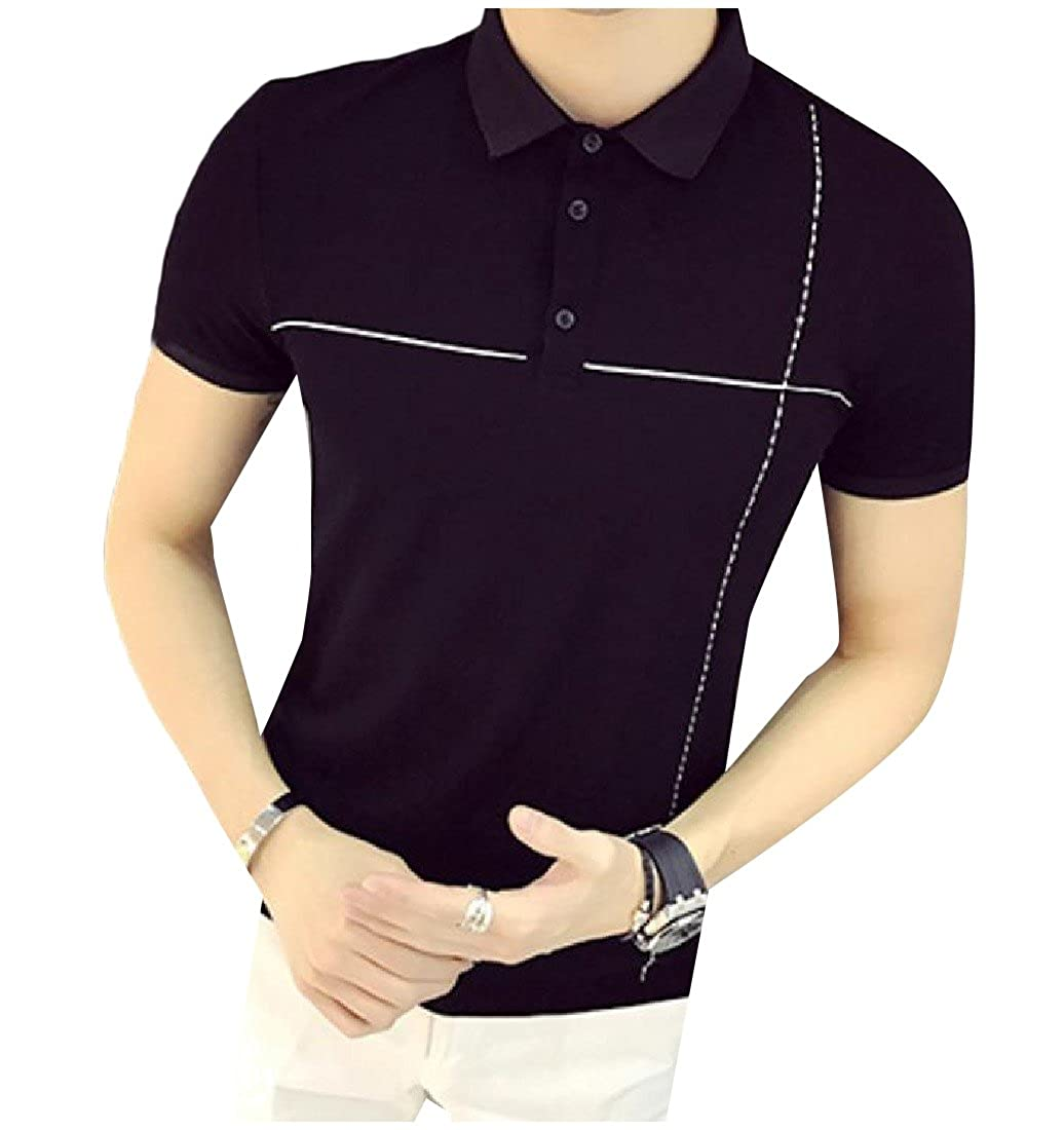 Honey GD Menss Classic-Fit Pullover Strip Solid Colored Polo T-Shirts