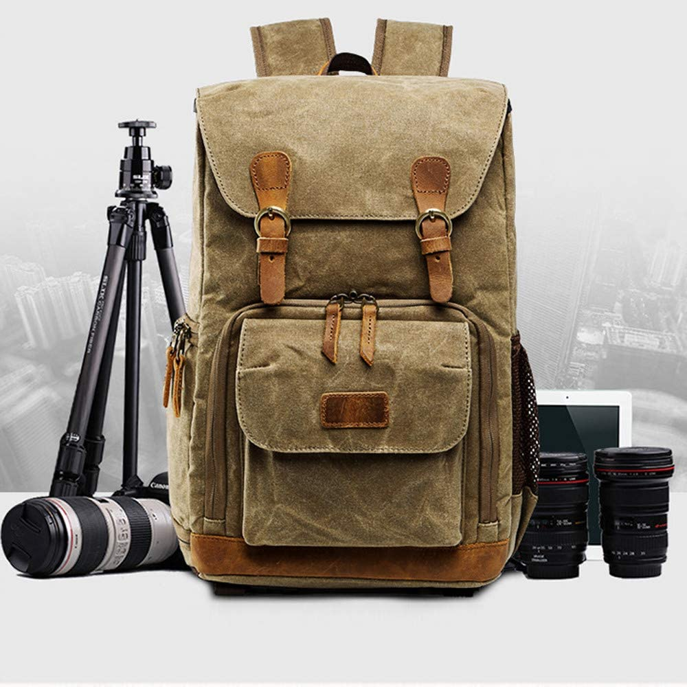 Pstars Vintage Photography Backpack Waterproof Photography Canvas Bag Placeable one Camera Two Lenses Notebook Computer and Other Items