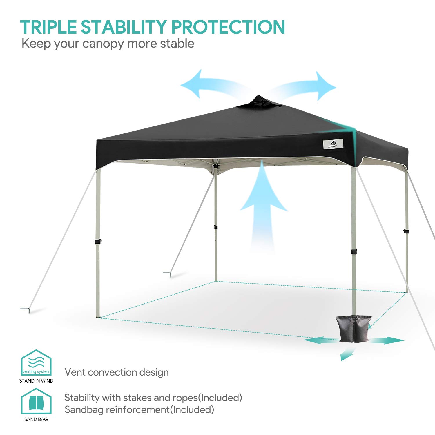 FinFree 10×10 FT Compact Ez Pop up Canopy Tent Outdoor, Folding Canopy Tent, Instant Canopy with Wheeled Carry Bag, Black
