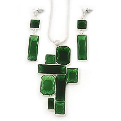 Avalaya Leaf Green 'Summer Shapes' Necklace & Drop Earrings Set In Matte Silver Plating - 40cm Length/7cm Extension H63Sk