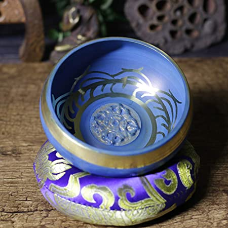 Gift for Friends Blue 9.5cm Yoga Meditation Sound Therapy Tibetan Singing Handmade Copper Buddhist Bowl farawamu Buddhist Bowl Desktop Decor