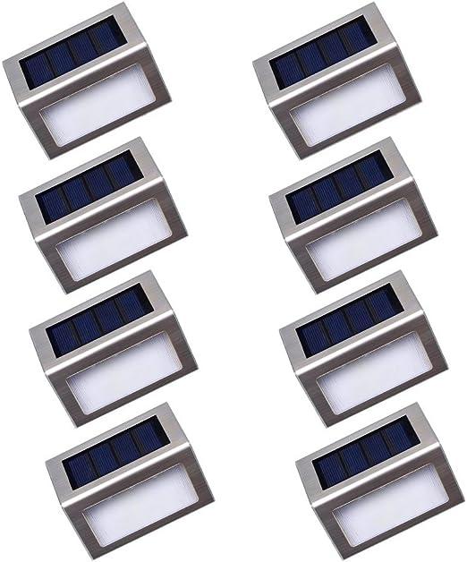 Luces Solares LED exterior Jardín Nateer, Lámparas solares impermeable Ip44 para exterior, Camino de Iluminación, 3 LEDs ilumina para Jardín, Escaleras, Patio, Pared, etc. 8 Unidades: Amazon.es: Iluminación