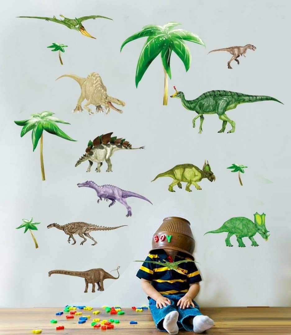 * Dinosaurs - Boys - Kids - Nursery - bedroom - Wall Stickers 50 x 70cm sheet Transparent - Clear edge JM8195