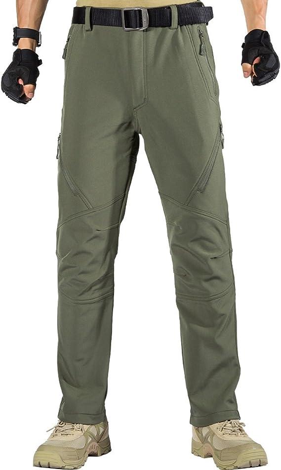 FREE SOLDIER Pantalon Impermeable Hombre Pescar Pantalones de Trabajo Softshell Caminar Pantalones de Invierno con Forro Polar T/érmico para Exteriores para Trekking