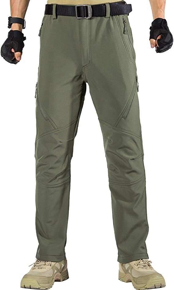 FREE SOLDIER Walking Trousers for Men Winter Waterproof Trousers Outdoor Hiking Trousers Softshell Thermal Fleece Lined Overtrousers