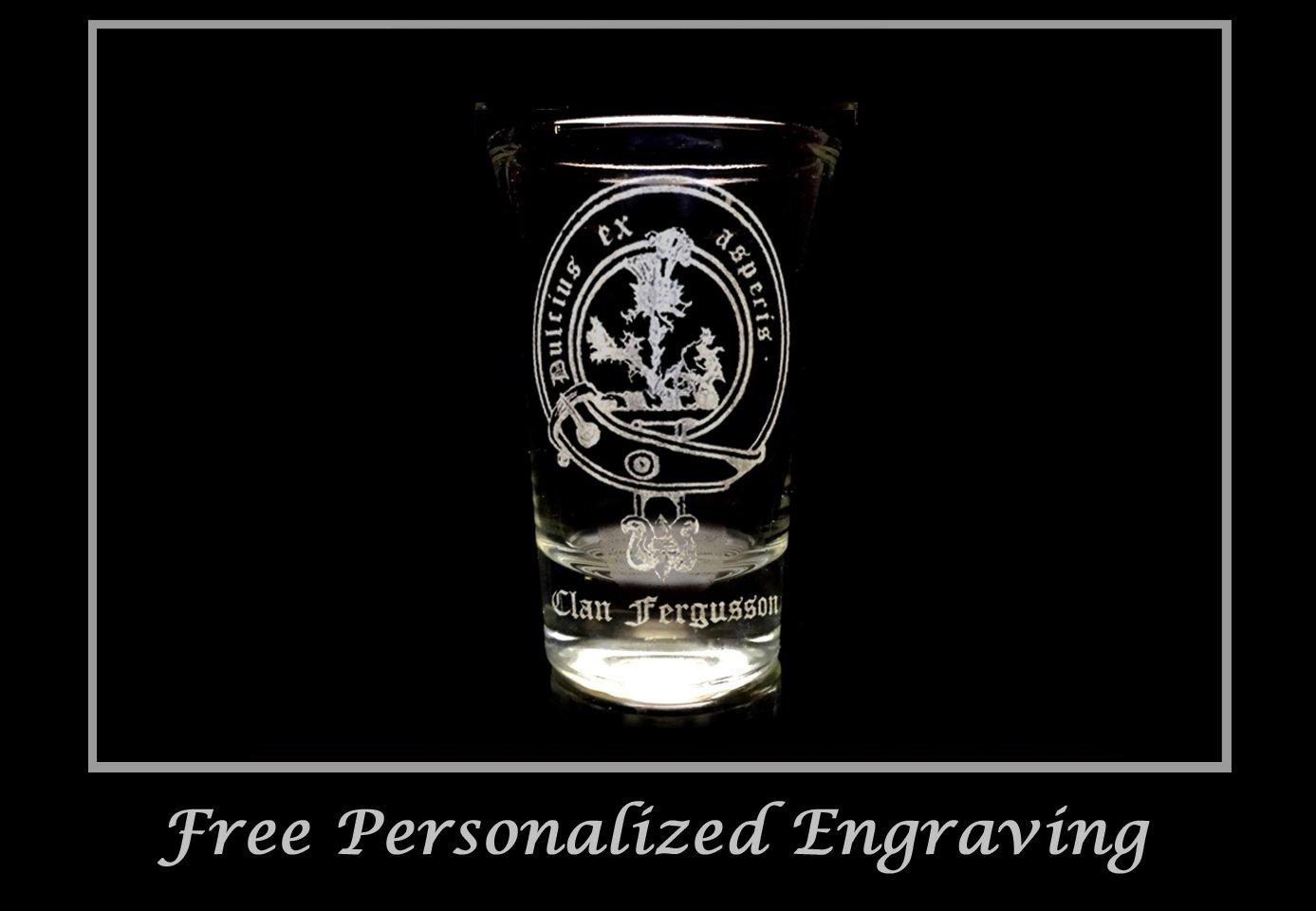 Fergusson, Ferguson Scottish Family Clan Crest Shot Glass 2oz - Free Personalized Engraving, Celtic Decor, Scottish Glass