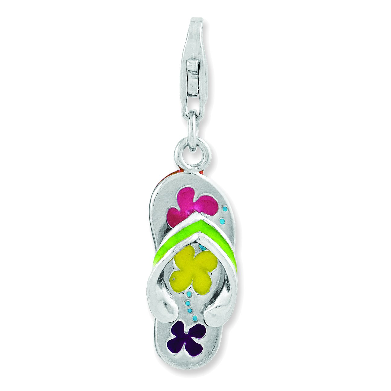 Amore La Vita Sterling Silver 3-D Enameled Flip-flop with Lobster Clasp Charm