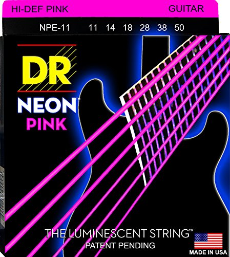 DR Strings NPE-11 Coated Nickel Hi-Def Pink Electric Guitar Strings, Heavy